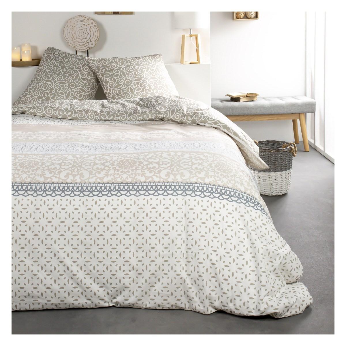 Parure de lit 2 personnes imprimé floral en Coton Beige 240x260 cm