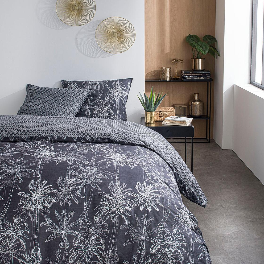 Parure de lit 2 personnes imprimé jungle en Coton Gris 240x260 cm