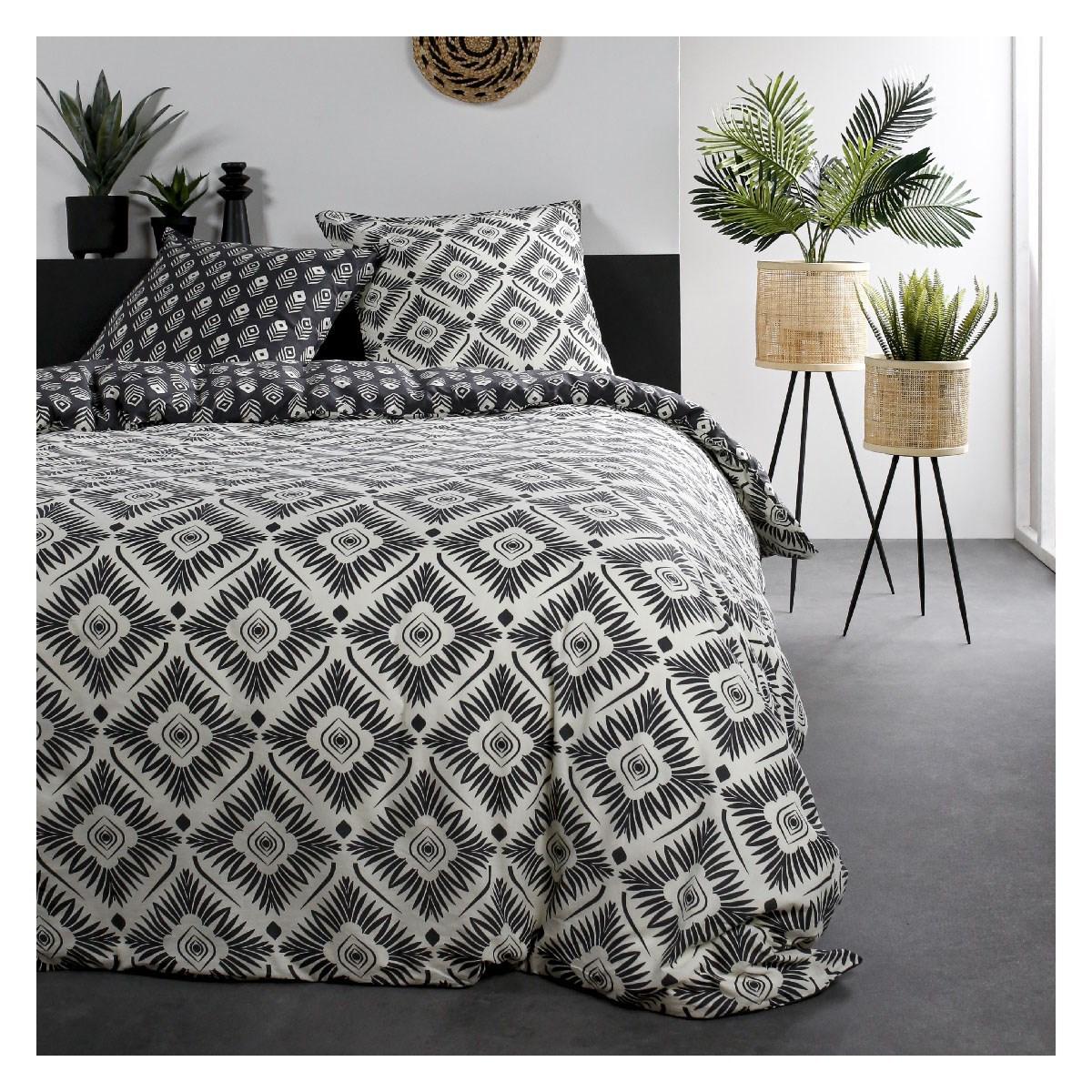 Parure de lit 2 personnes imprimé en Coton Blanc 220x240 cm