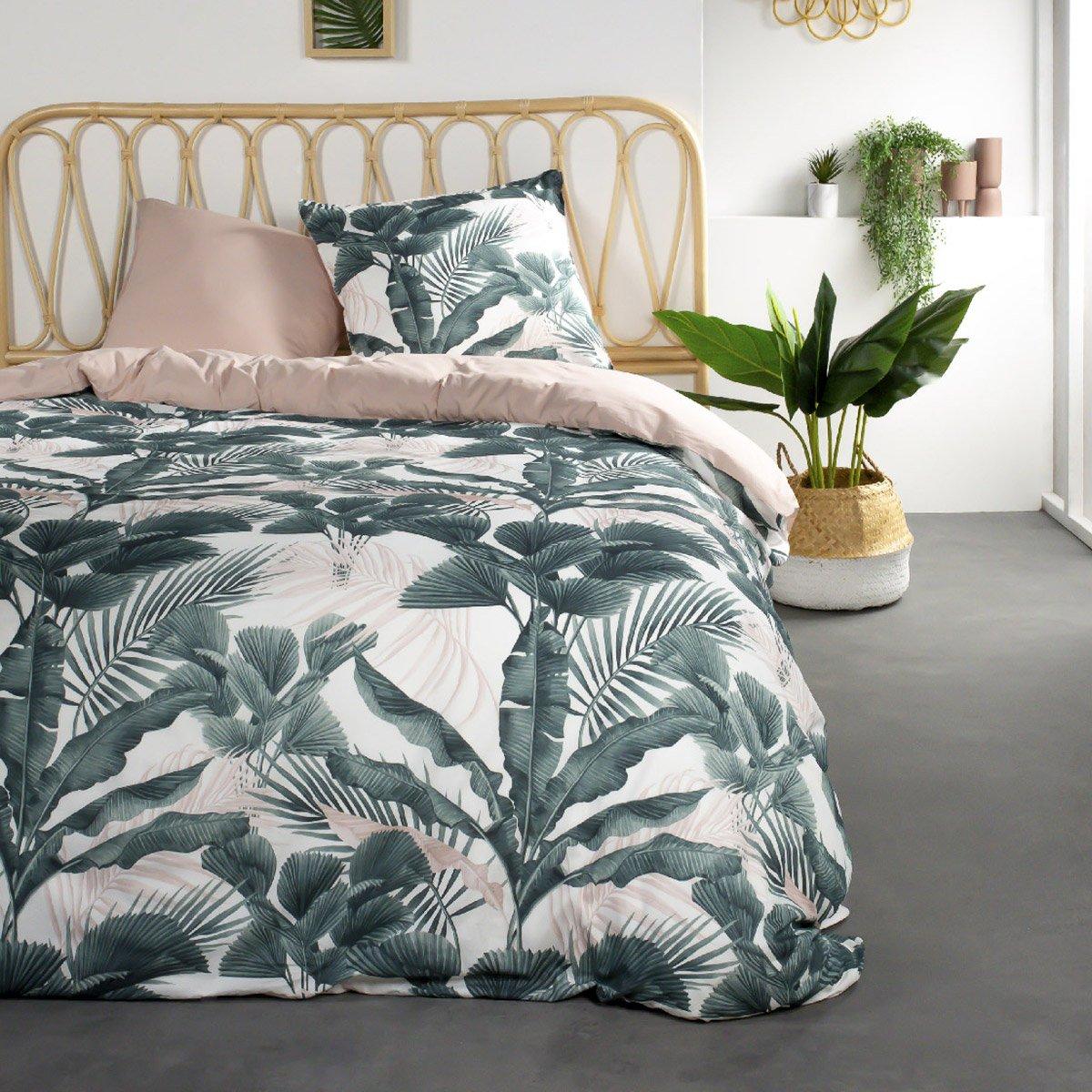 Parure de lit 2 personnes imprimé jungle en Coton Vert 240x260 cm
