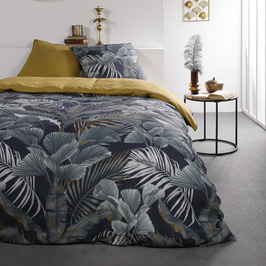 Parure de lit 2 personnes imprimé jungle en Coton Bleu 240x260 cm