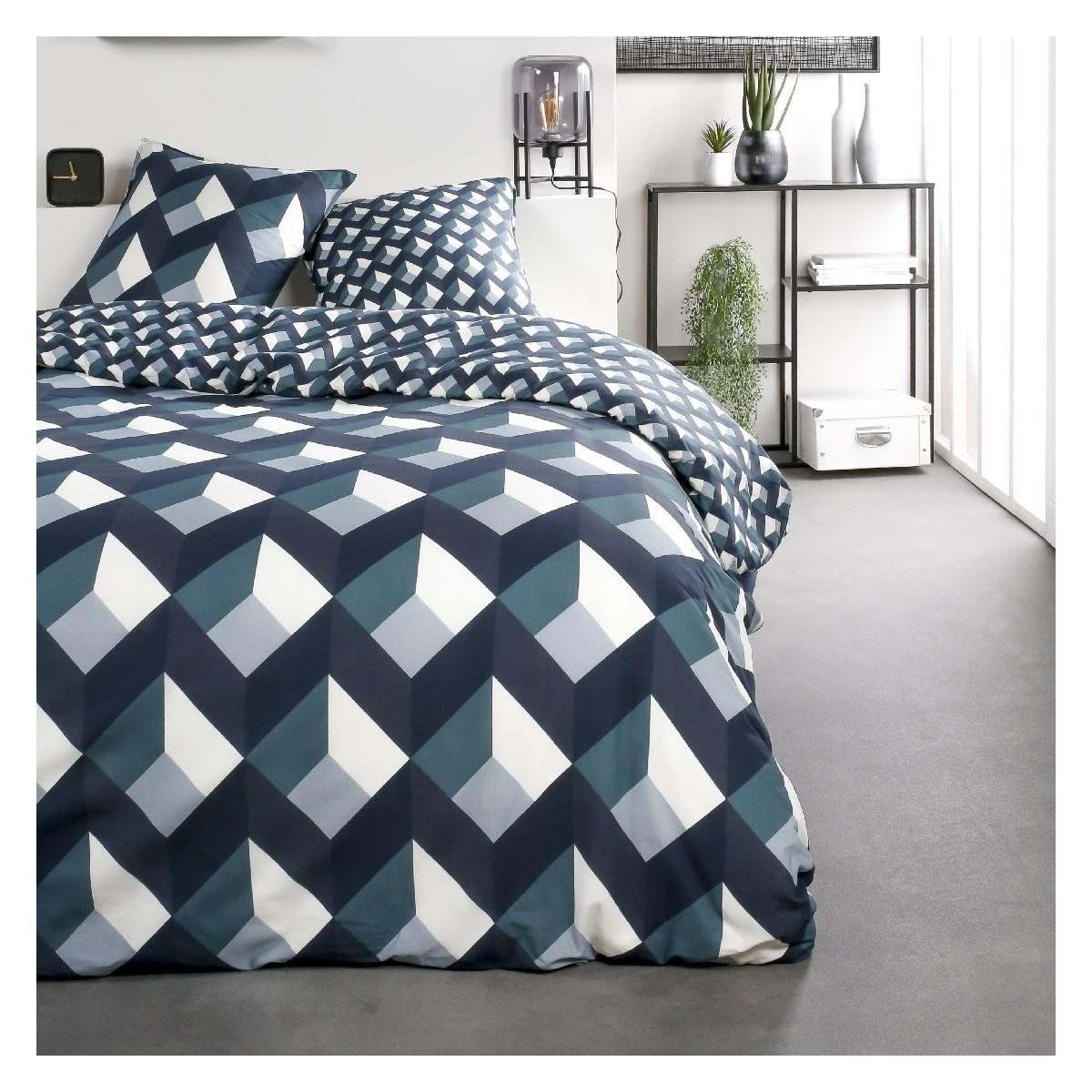 Parure de lit 2 personnes imprimé en Coton Bleu 220x240 cm