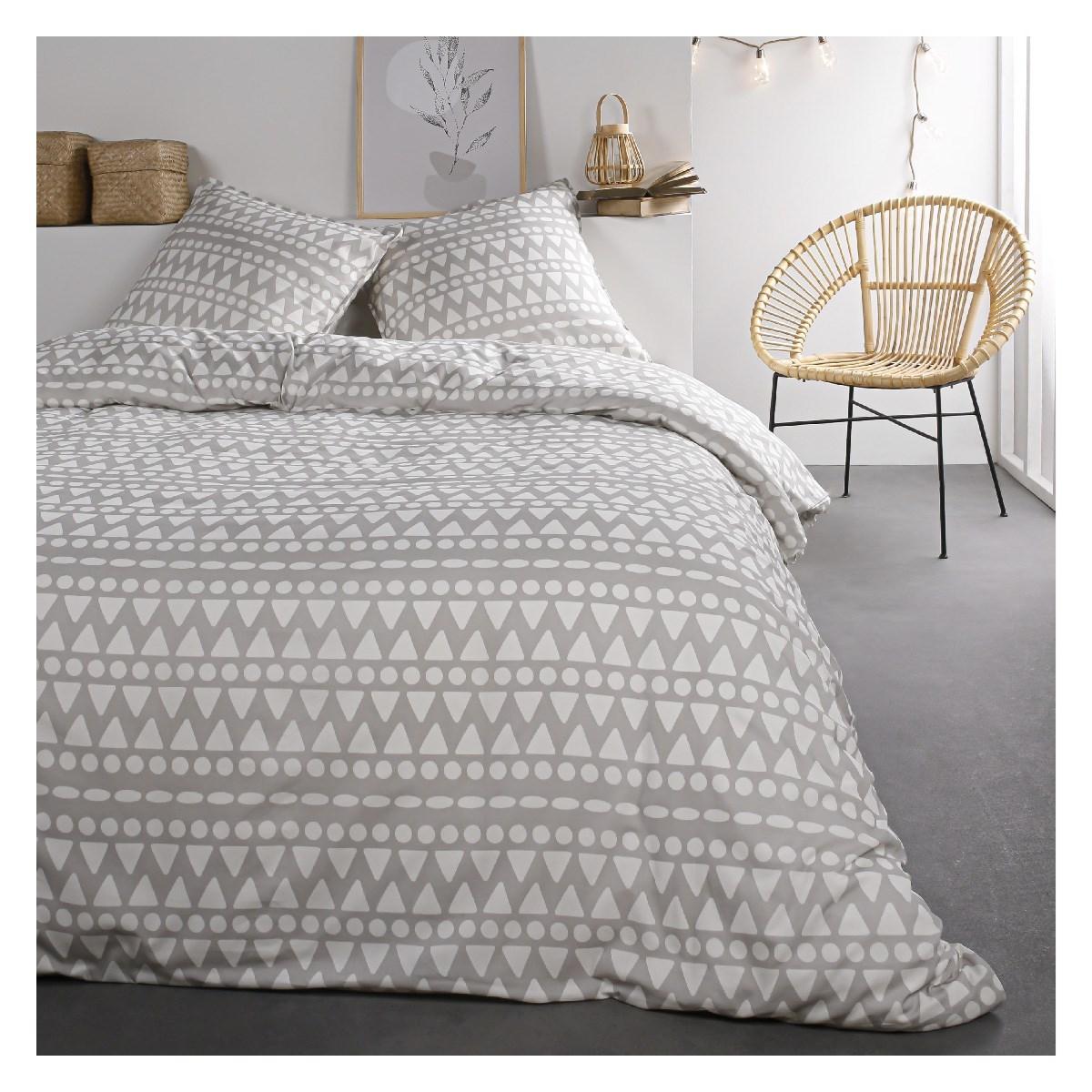 Parure de lit 2 personnes imprimé en Coton Gris 220x240 cm
