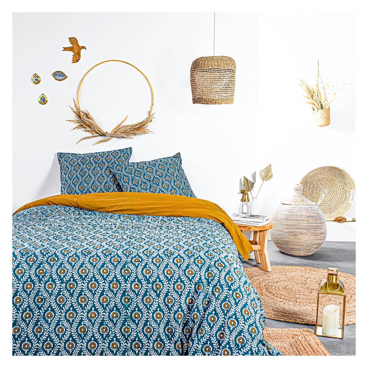 Parure de lit 2 personnes imprimé bohème en Coton Bleu 220x240 cm
