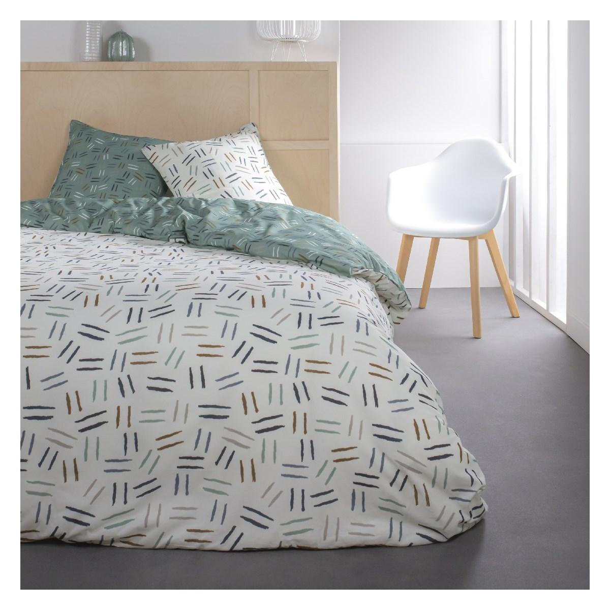 Parure de lit 2 personnes imprimé Rayure en Coton Blanc 220x240 cm