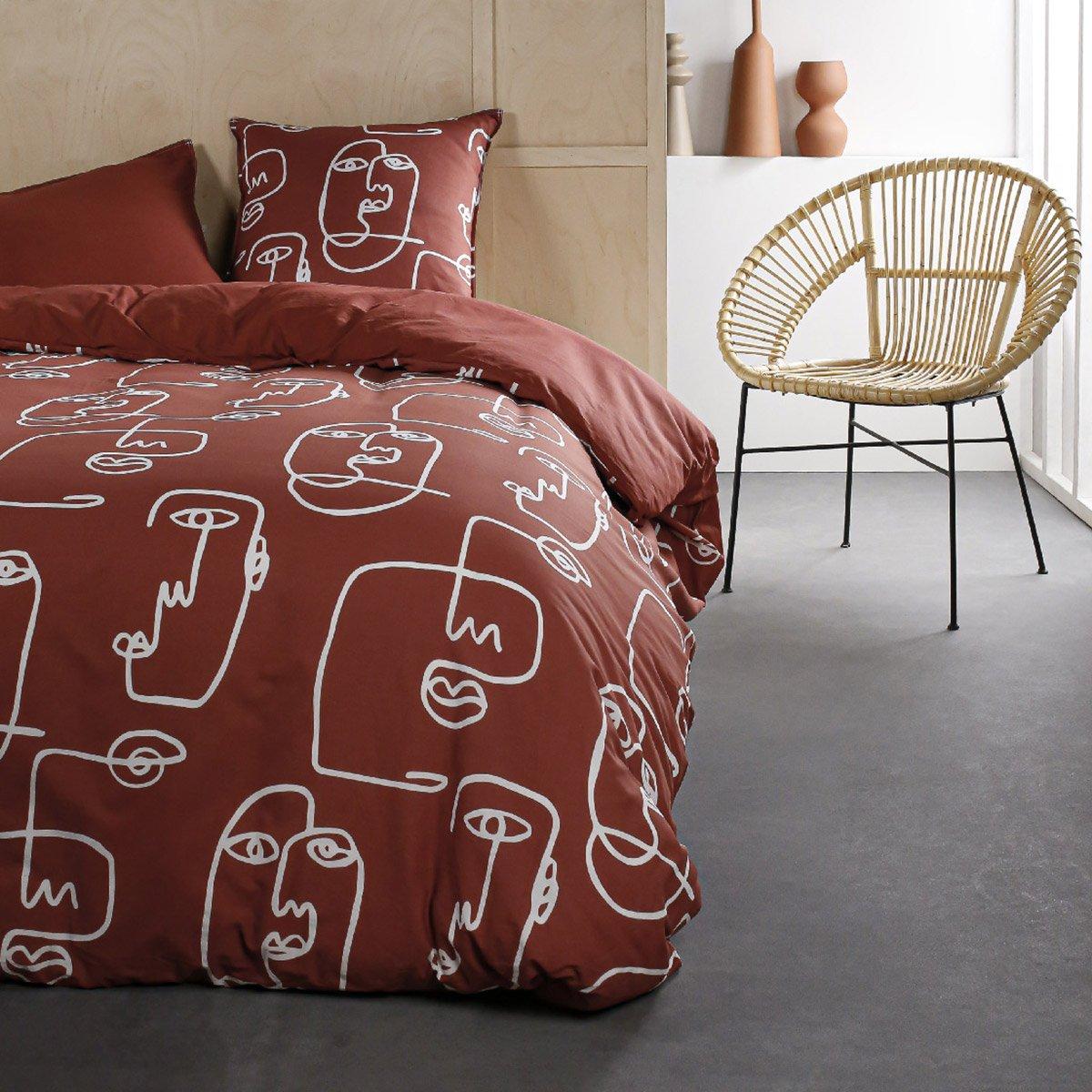 Parure de lit 2 personnes imprimé en Coton Rouge 240x260 cm
