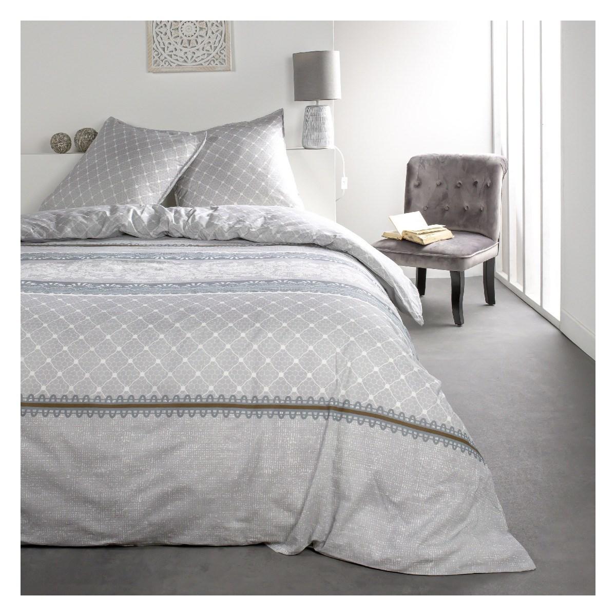 Parure de lit 2 personnes imprimé en Coton Gris 240x260 cm