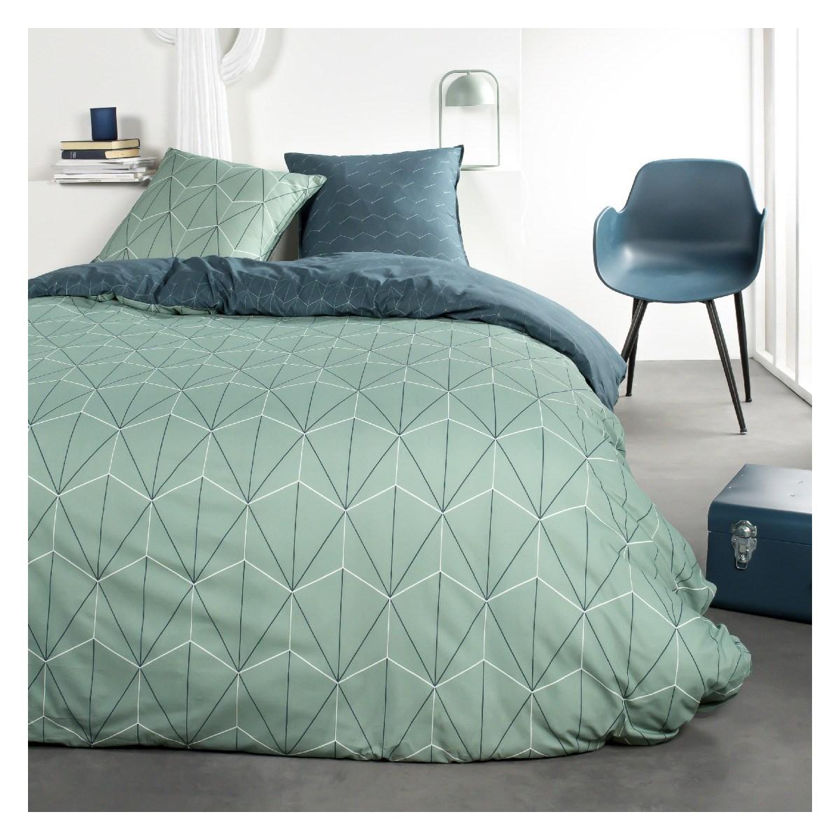 Parure de lit 2 personnes imprimé en Coton Bleu 240x260 cm