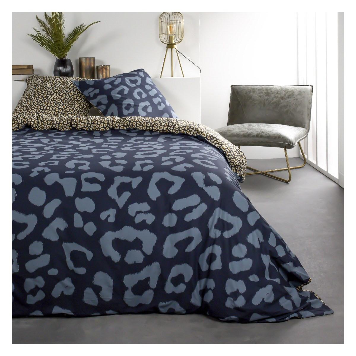 Parure de lit 2 personnes imprimé animal en Coton Bleu 240x260 cm