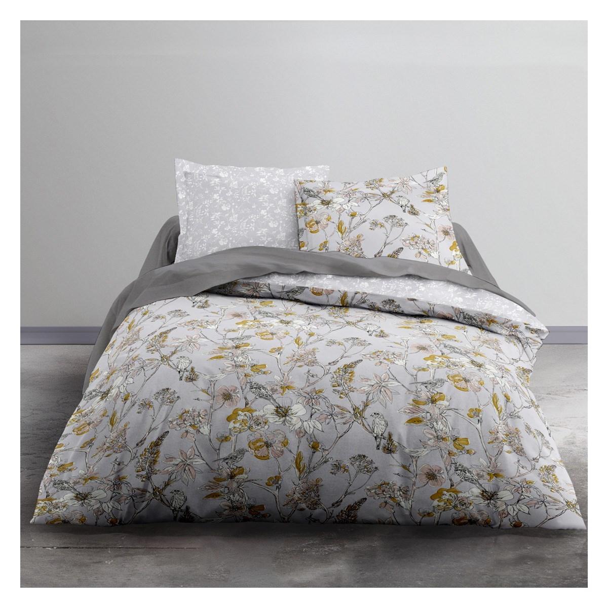 Parure de lit 2 personnes imprimé floral en Polyester Gris 220x240 cm