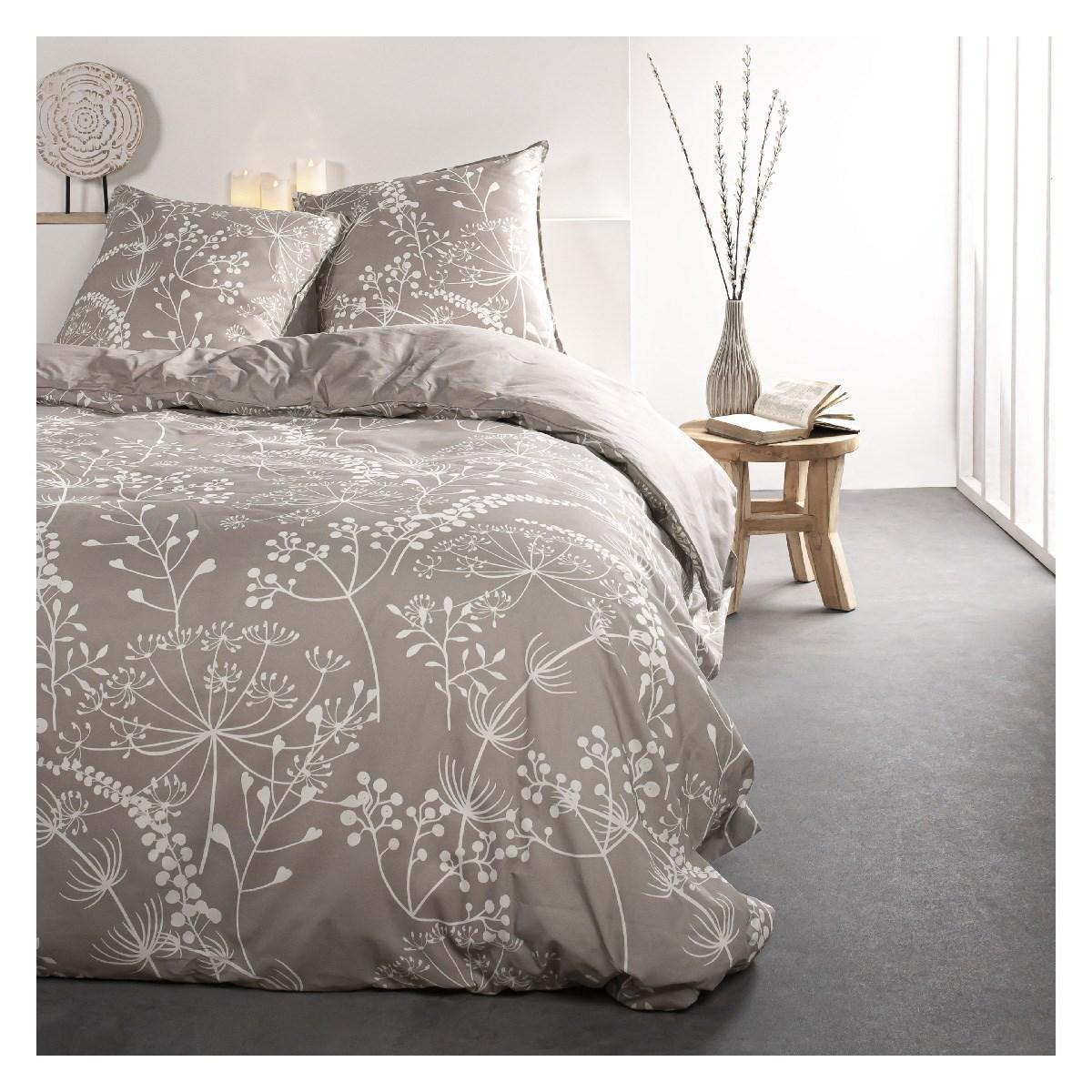 Parure de lit 2 personnes imprimé floral en Coton Marron 240x260 cm