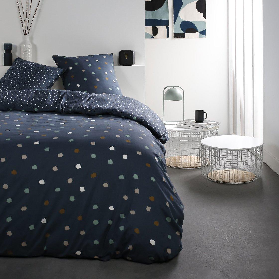 Parure de lit 2 personnes imprimé a pois en Coton Bleu 240x260 cm