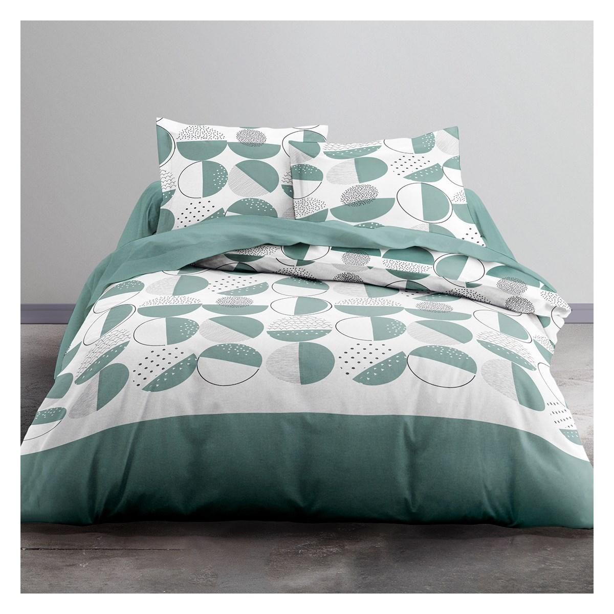 Parure de lit 2 personnes imprimé en Polyester Vert 220x240 cm