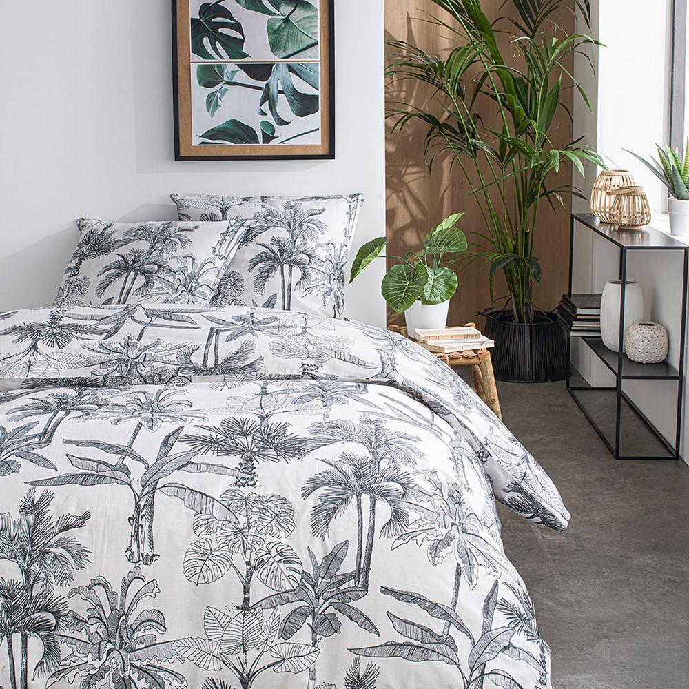 Parure de lit 2 personnes imprimé jungle en Coton Blanc 220x240 cm