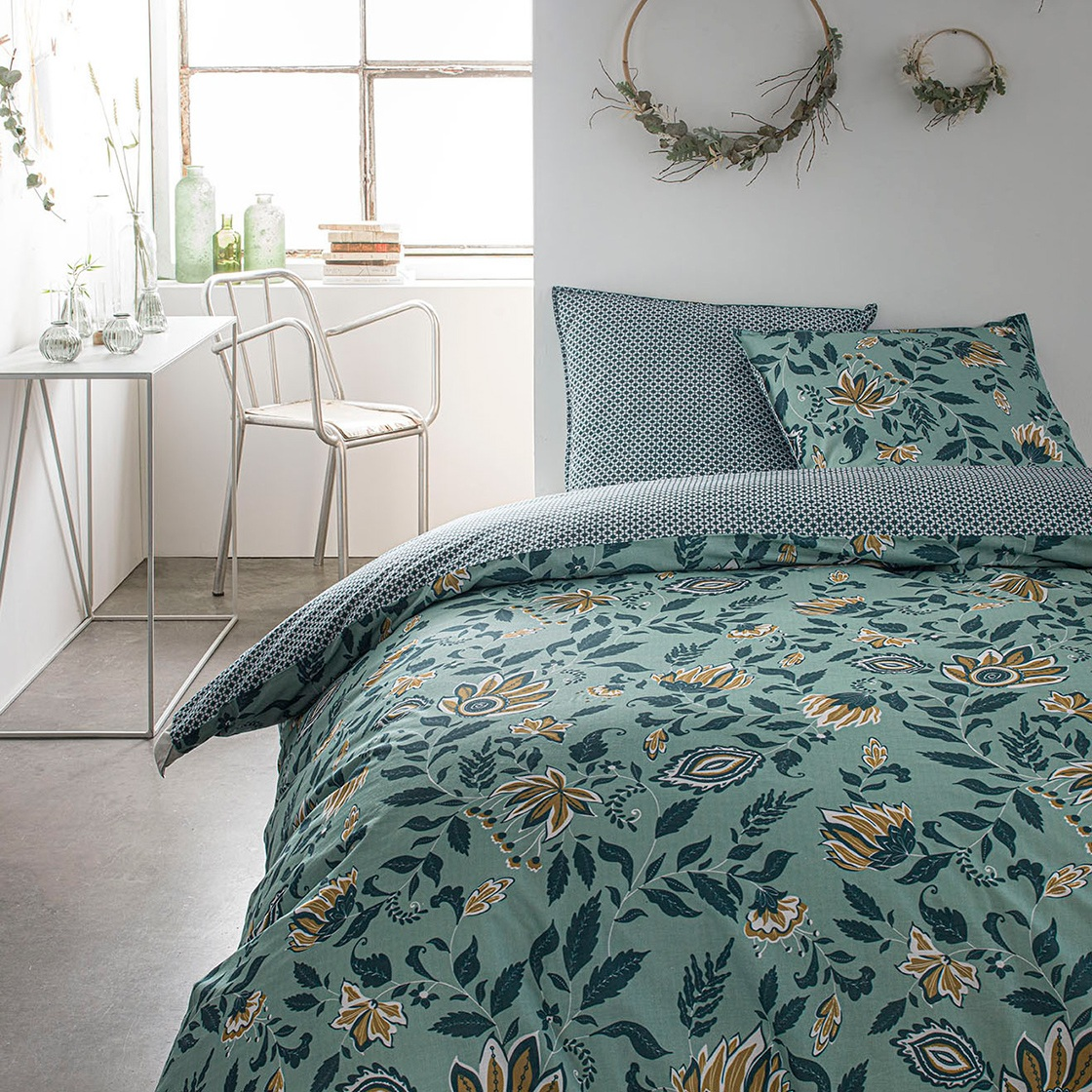 Parure de lit 2 personnes imprimé floral en Coton Vert 220x240 cm