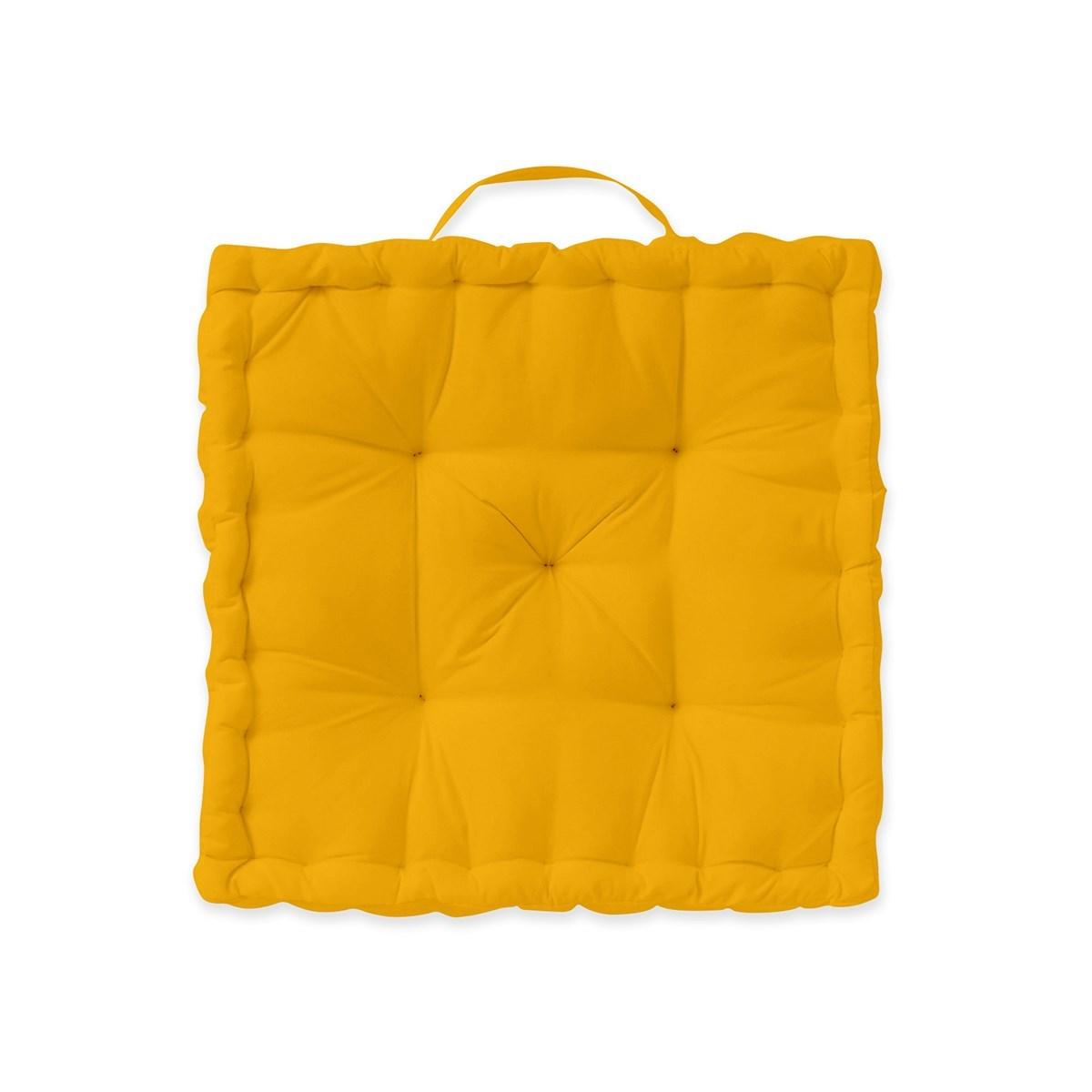 Coussin de sol en Coton Jaune 40x40 cm