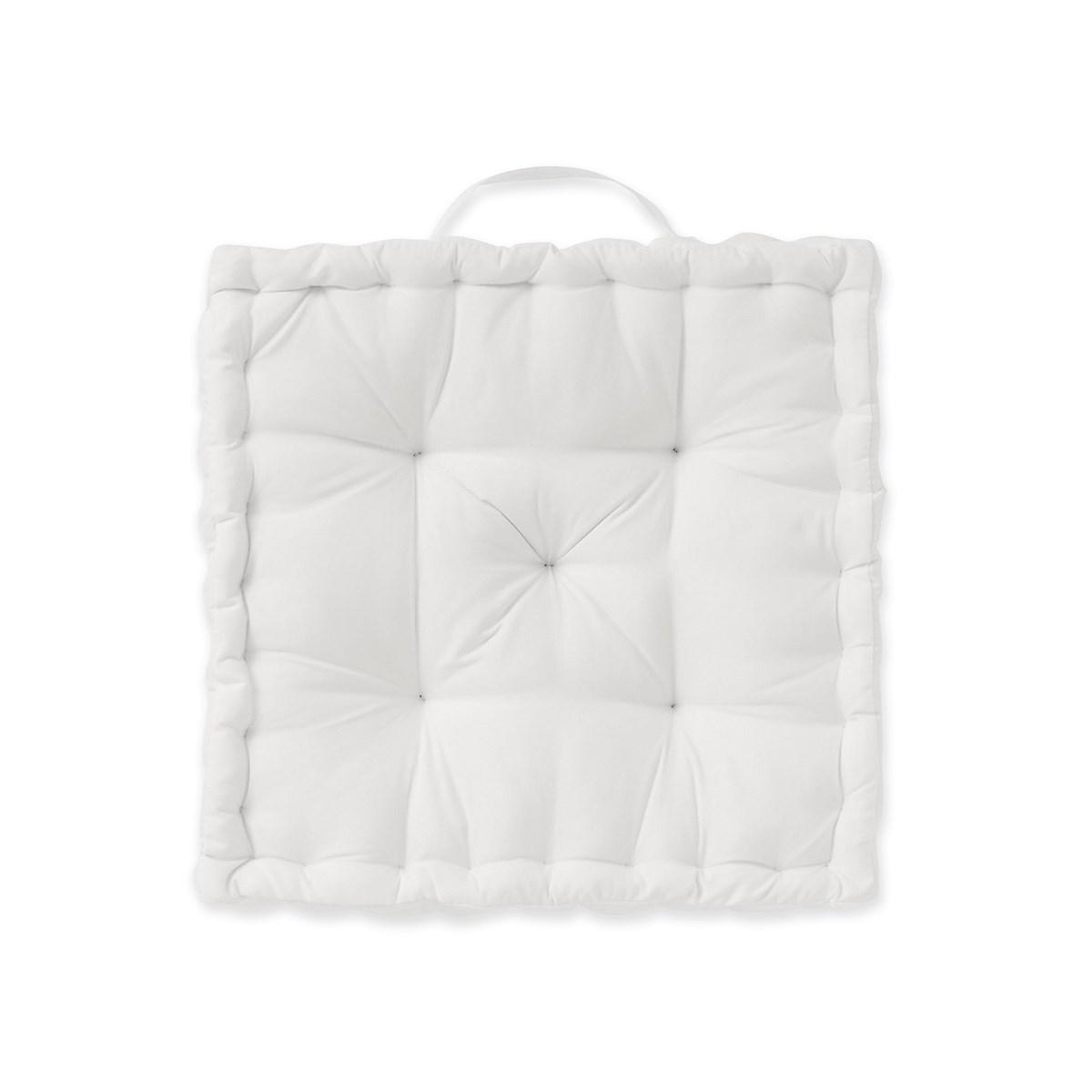 Coussin de sol en Coton Blanc 40x40 cm