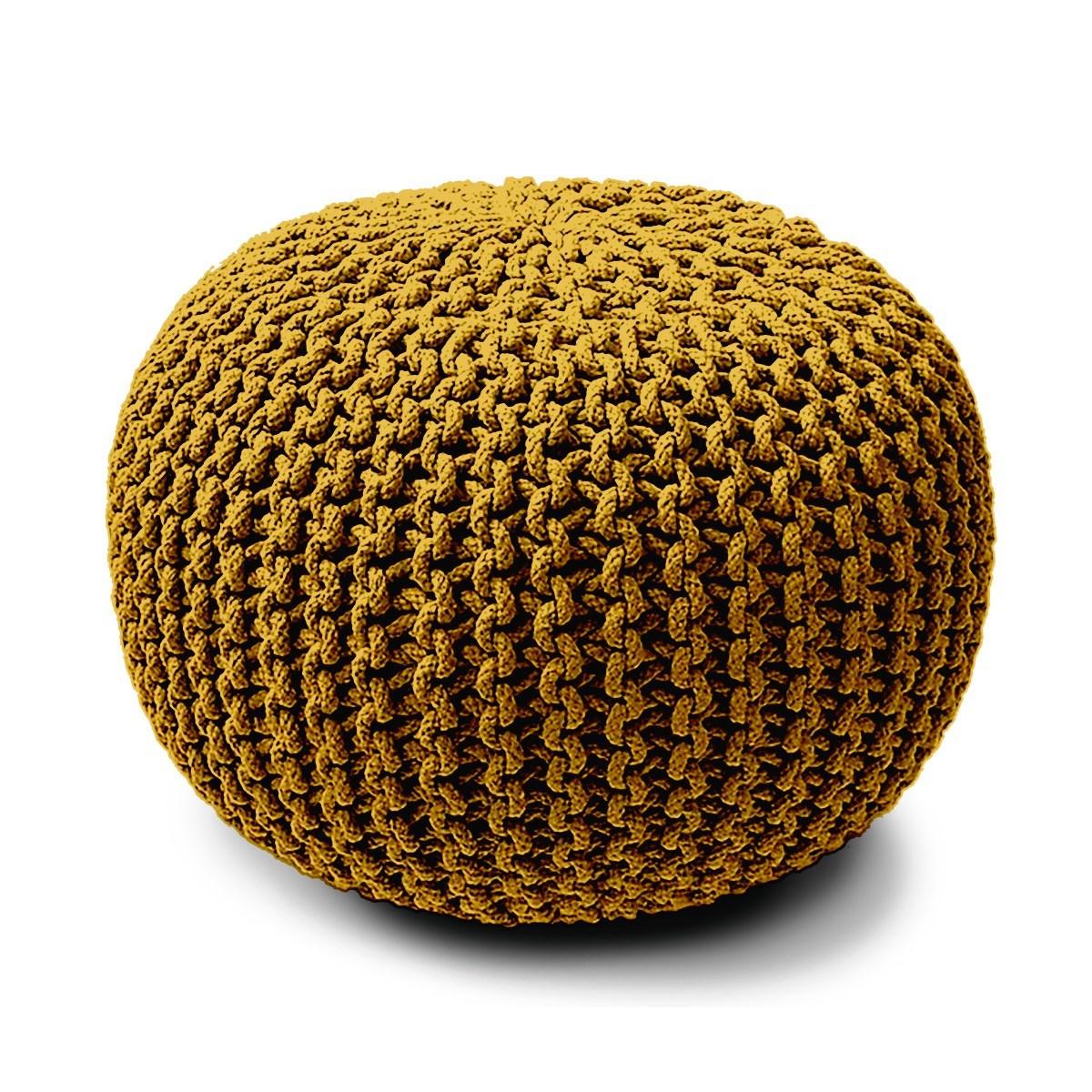 Pouf rond tricot en Coton Jaune 45x30 cm
