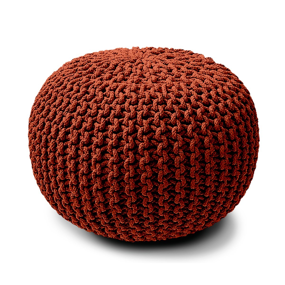 Pouf rond tricot en Coton Rouge 45x30 cm
