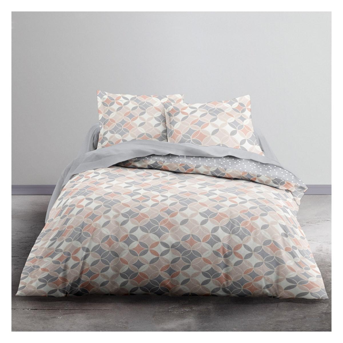 Parure de lit 2 personnes imprimé en Polyester Rose 220x240 cm