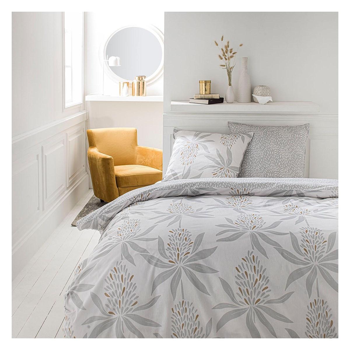 Parure de lit 2 personnes imprimé floral en Coton Blanc 220x240 cm