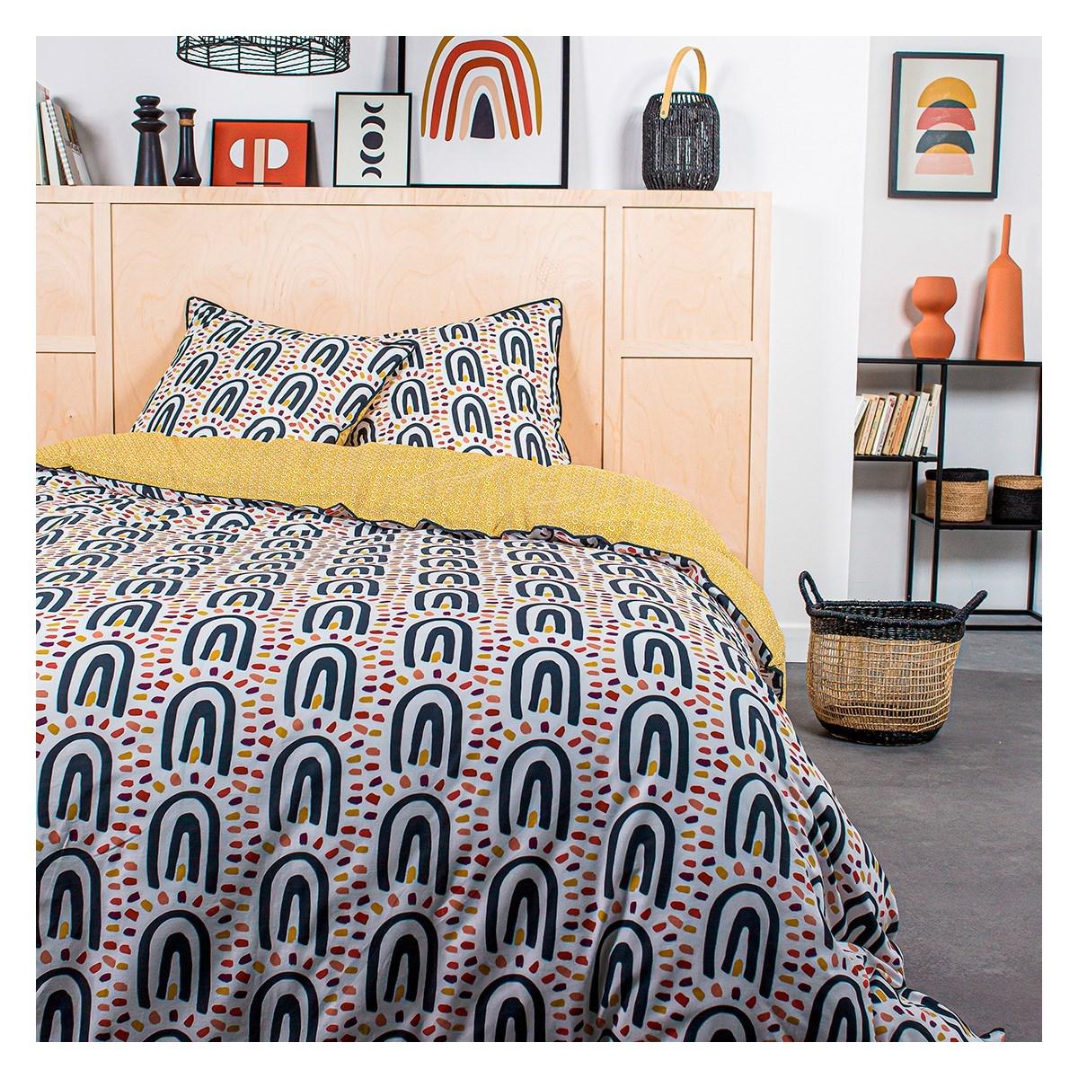 Parure de lit 2 personnes imprimé en Coton Jaune 240x260 cm