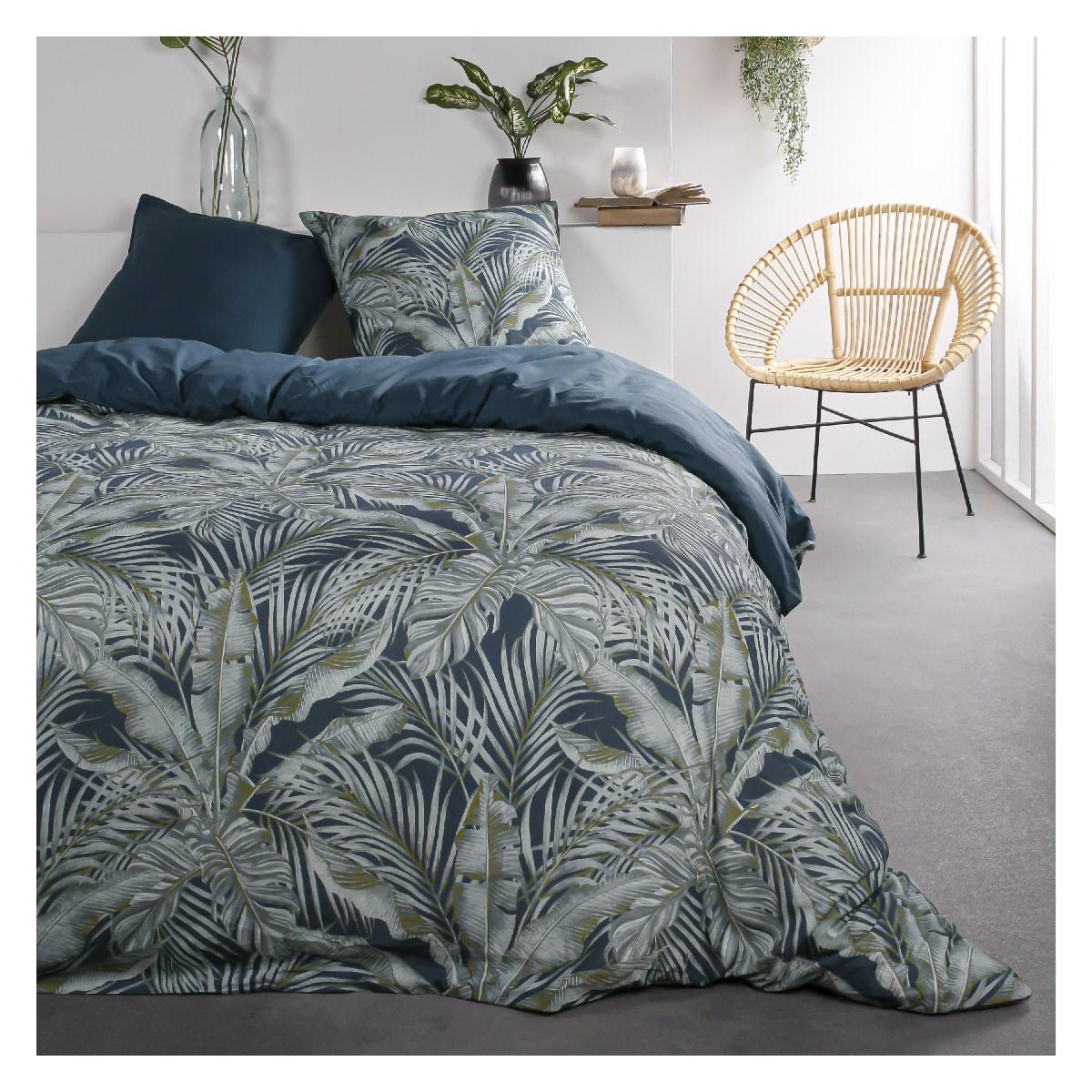 Parure de lit 2 personnes imprimé jungle en Coton Bleu 220x240 cm