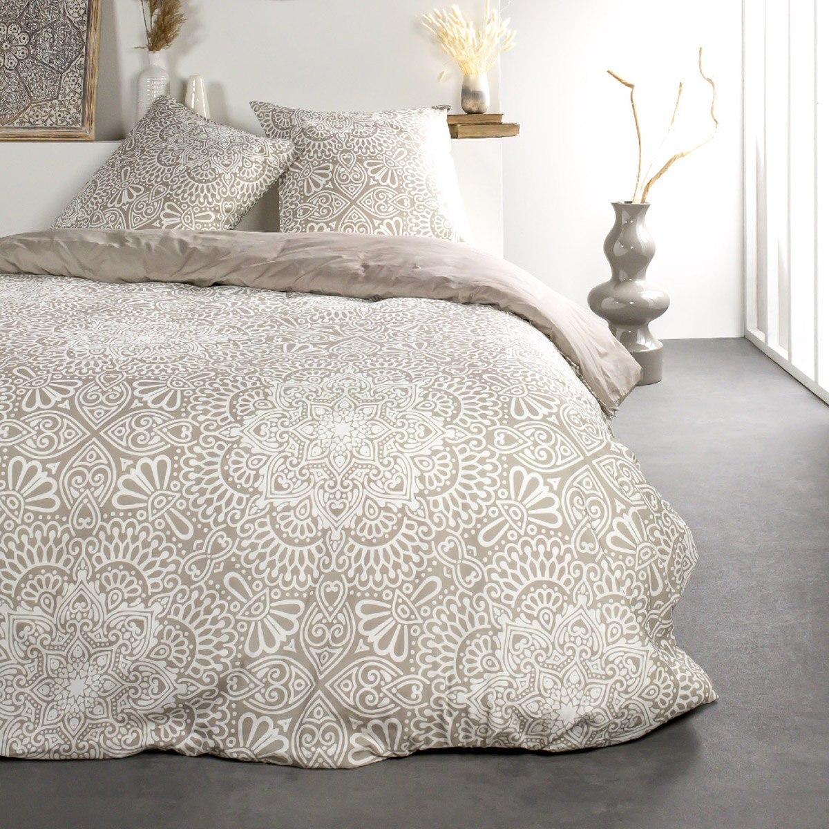 Parure de lit 2 personnes imprimé floral en Coton Beige 220x240 cm