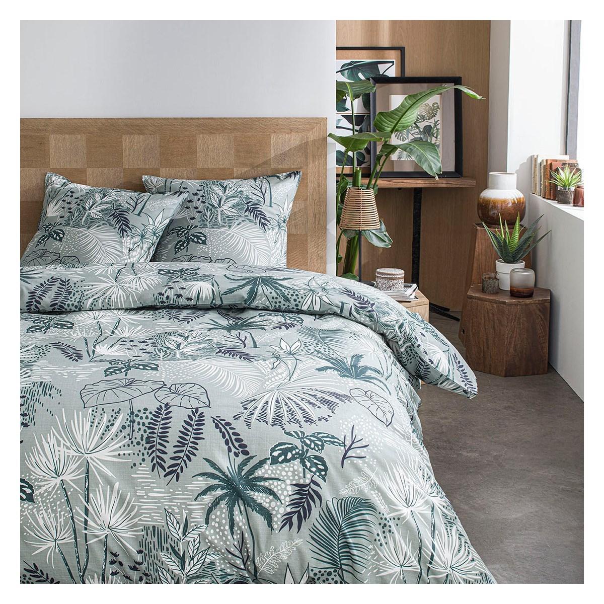 Parure de lit 2 personnes imprimé jungle en Coton Vert 220x240 cm