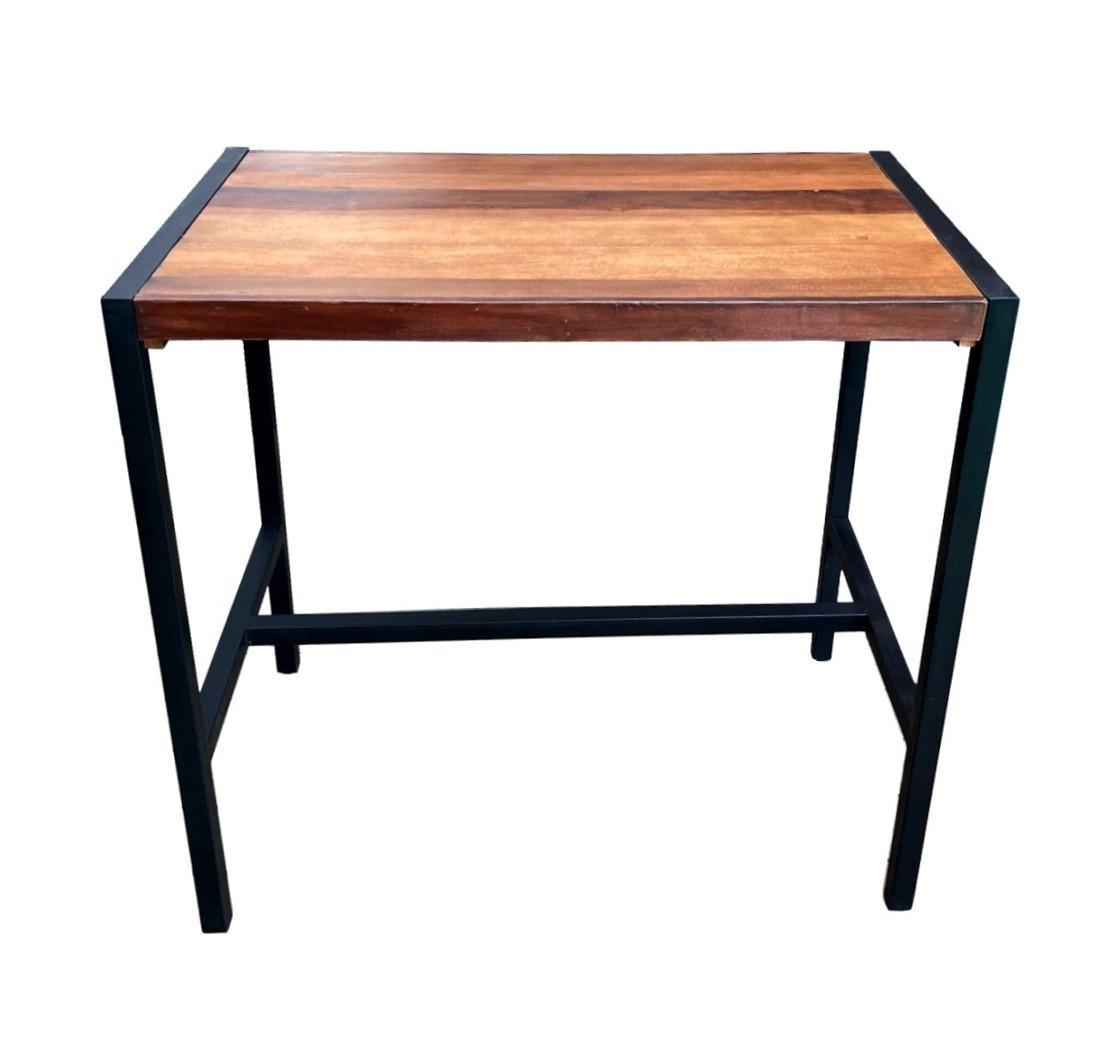 Table haute rectangulaire acier et bois