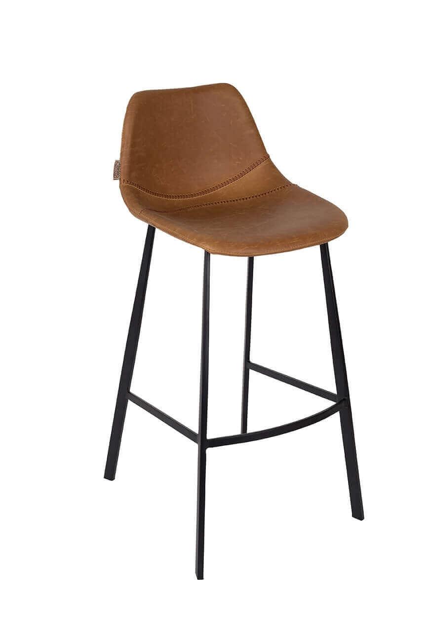 Chaise de comptoir aspect cuir marron