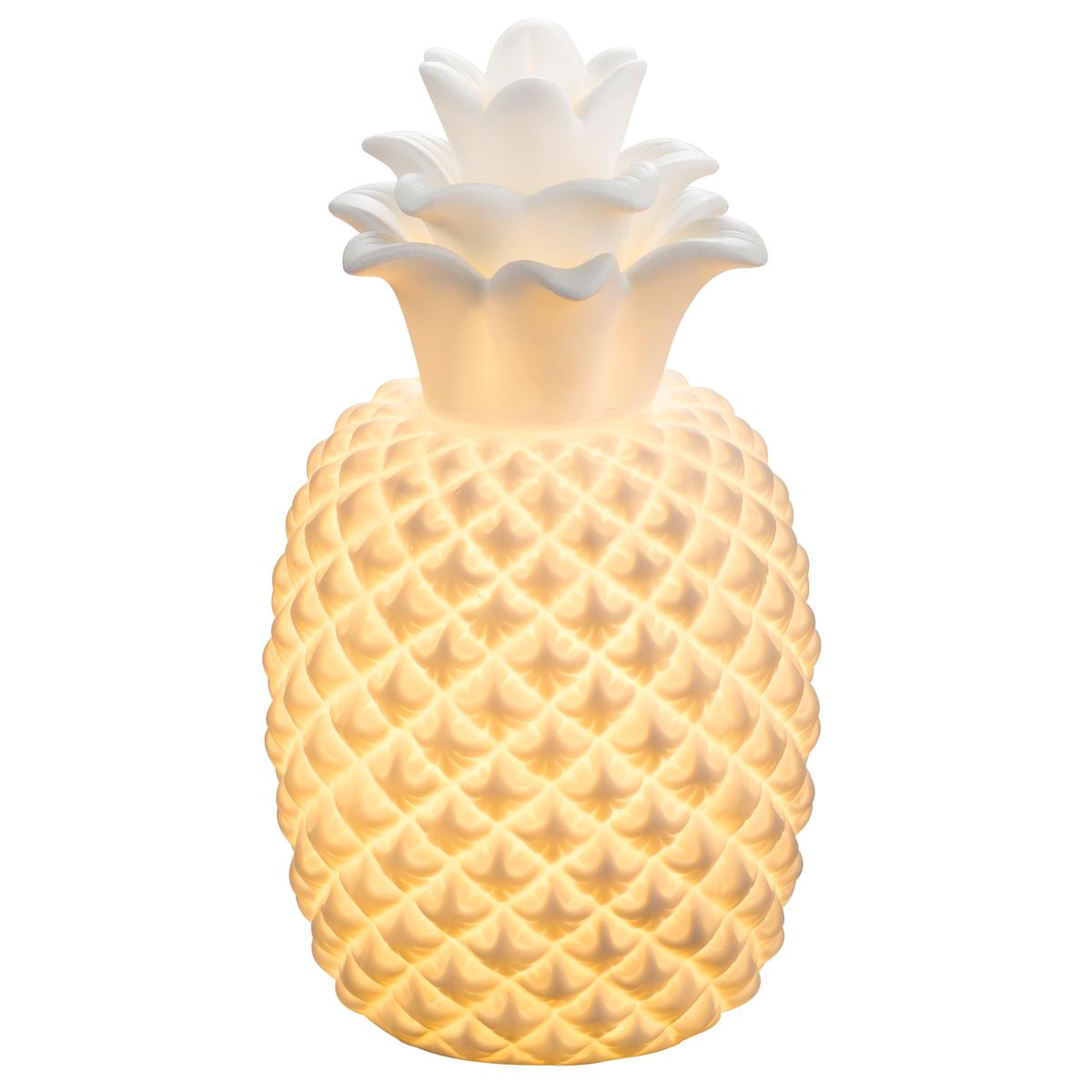 Ananas lumineux en céramique blanche