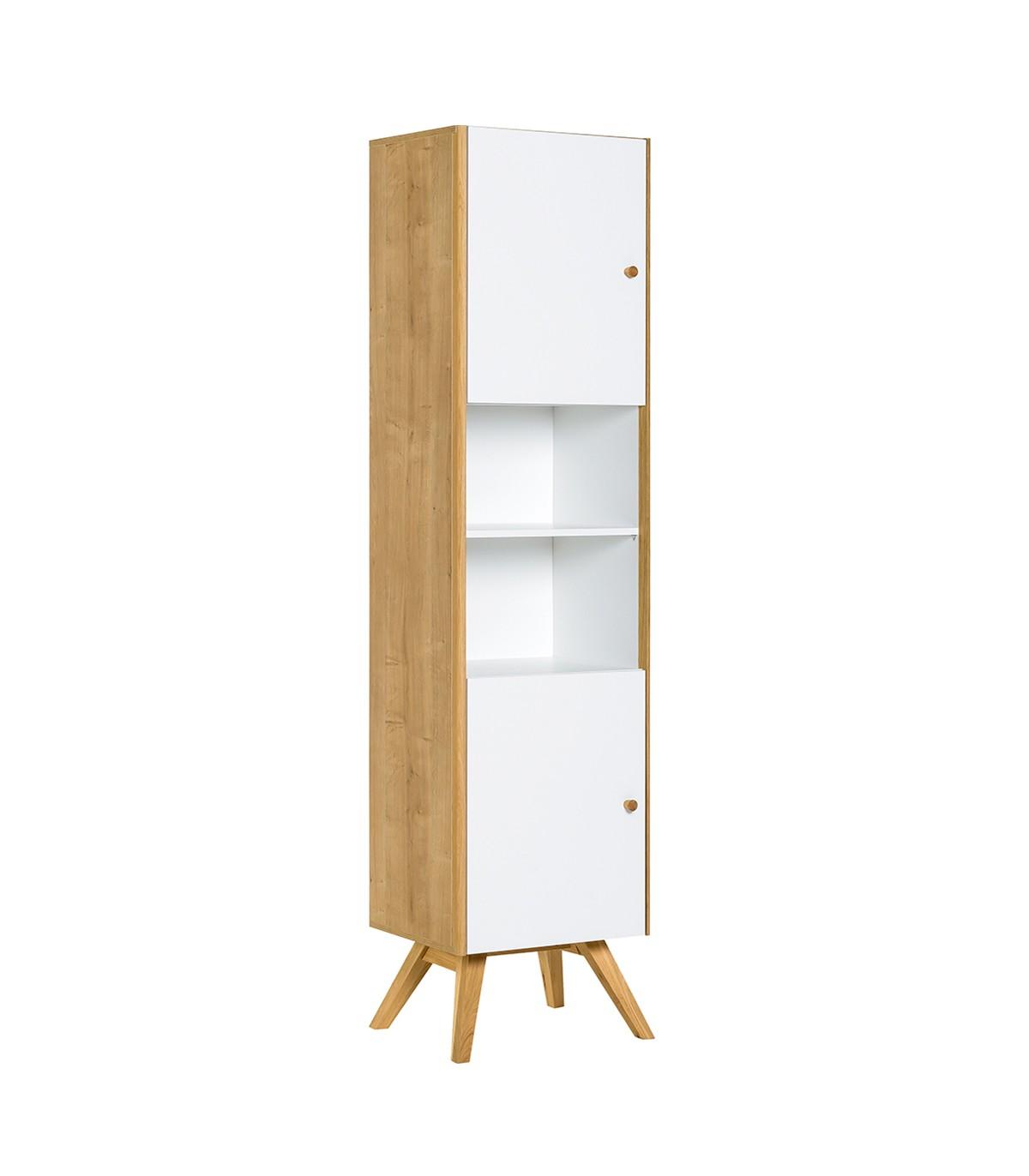 Bibliothèque 2 portes avec étagère centrale H207,5 cm - Blanc