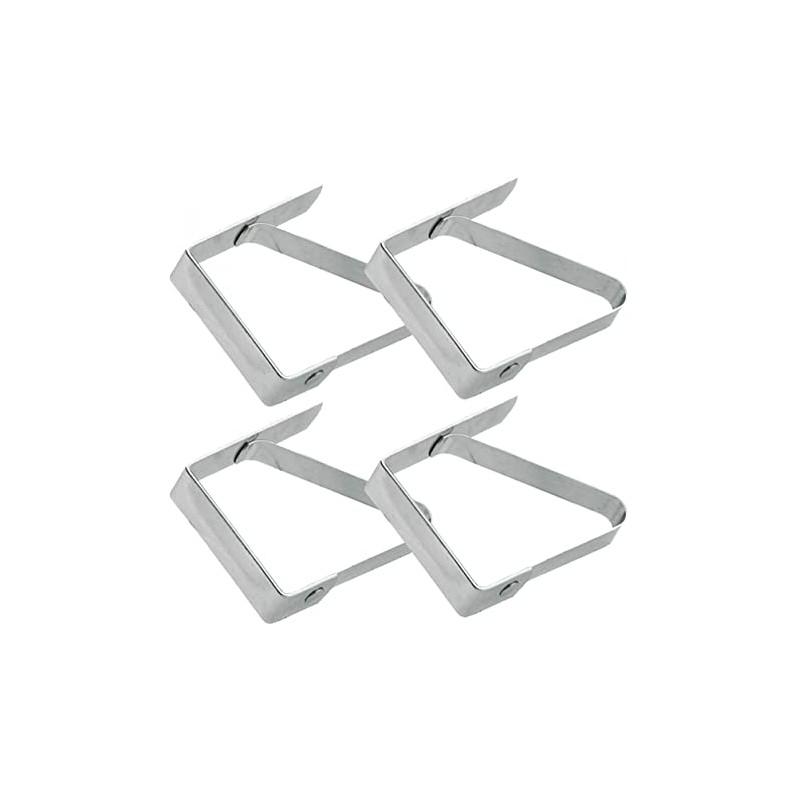 Pinces à nappe en acier inoxydable argent - Lot de 4