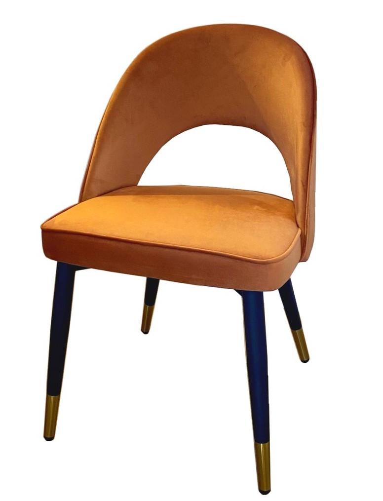 Chaise de salle a manger en velours orange