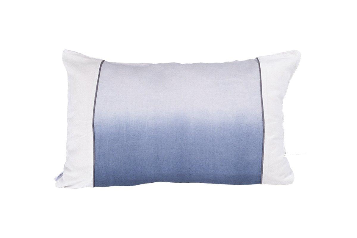 Coussin en lin et velours bleu 40x60 cm