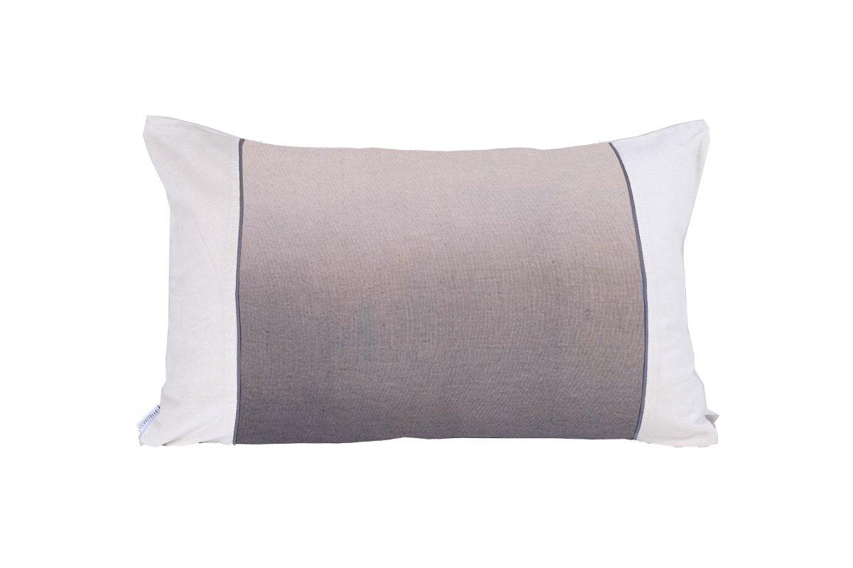 Coussin en lin et velours gris 40x60 cm