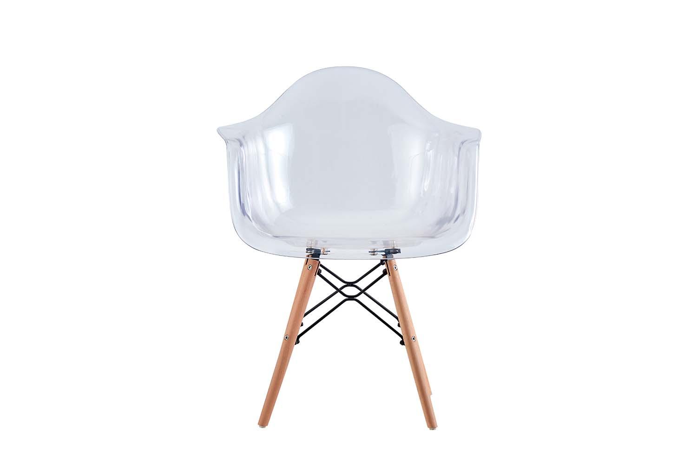 Lot de 4 chaises avec pieds en bois transparent
