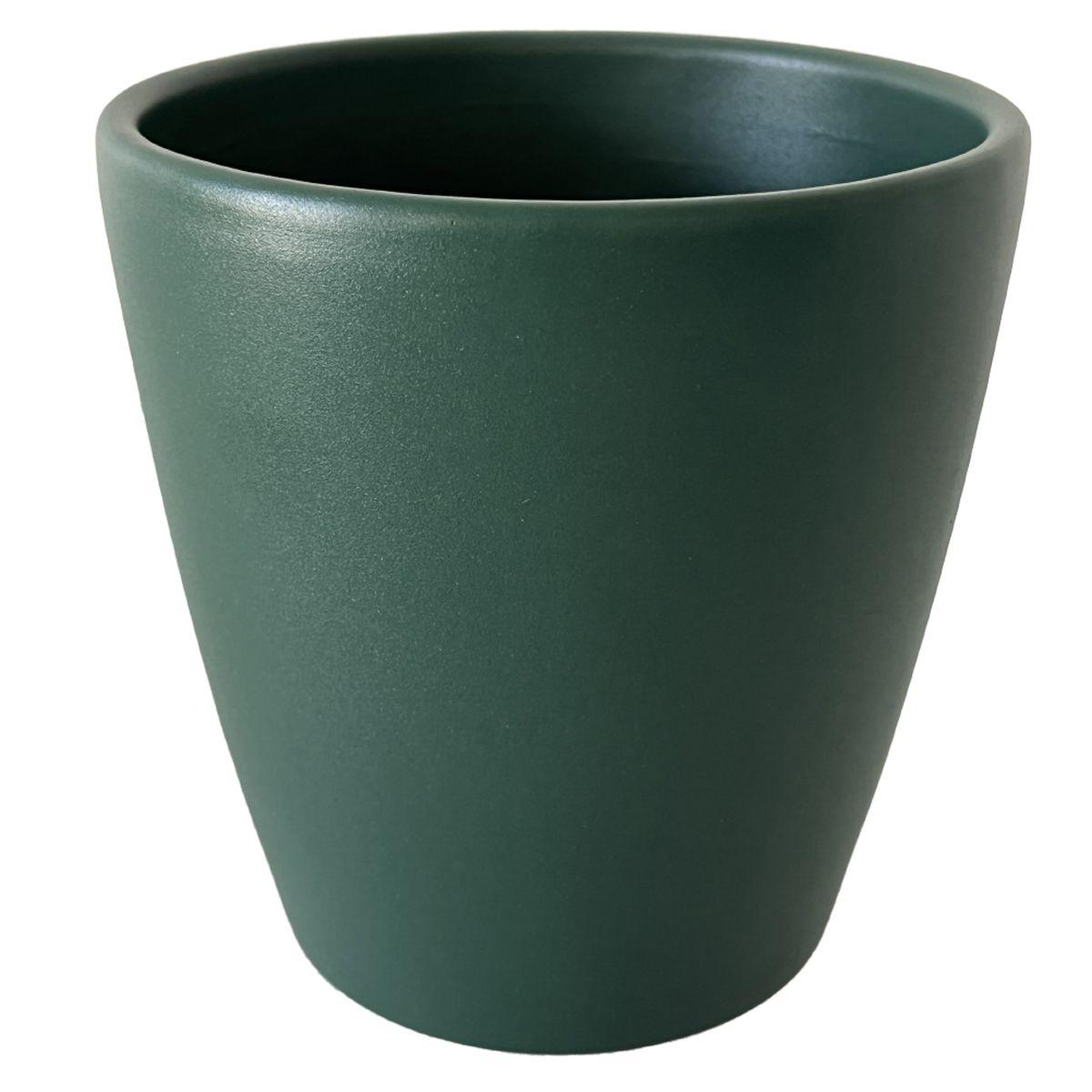 Cache pot émeraude en céramique H14cm