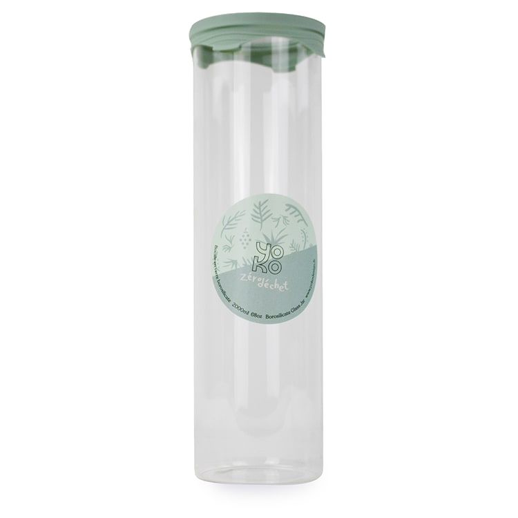 Bocal en verre avec couvercle silicone 2000 ml