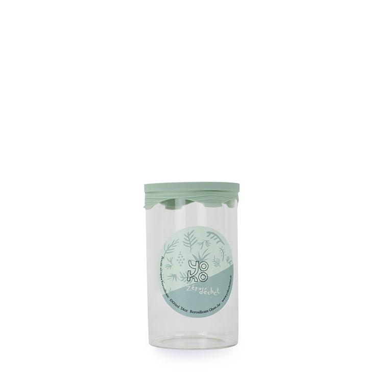 Bocal en verre avec couvercle silicone 1000 ml