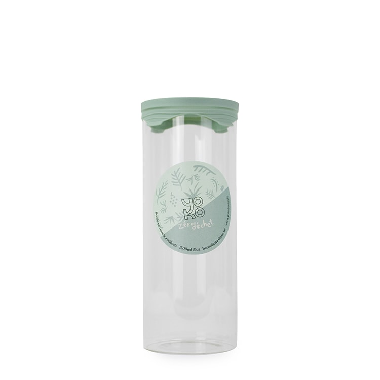 Bocal en verre avec couvercle silicone 1500 ml
