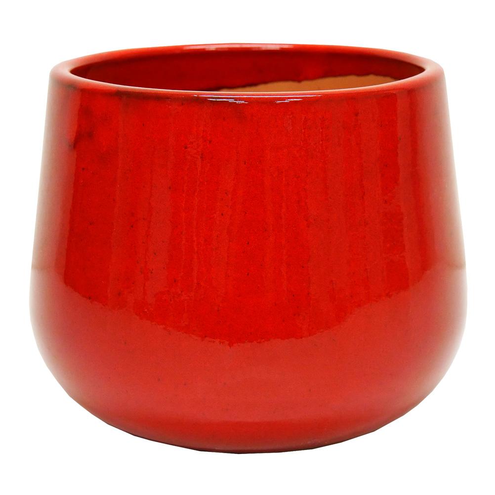 Cache pot rouge goutte en terre cuite H19cm