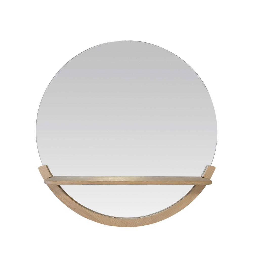 Miroir avec tablette en bois marron clair D62