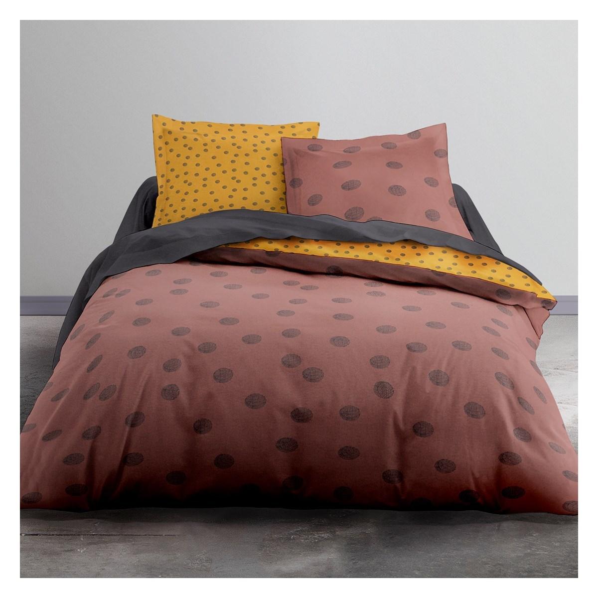 Parure de lit 2 personnes imprimé a pois en Polyester Rouge 220x240 cm