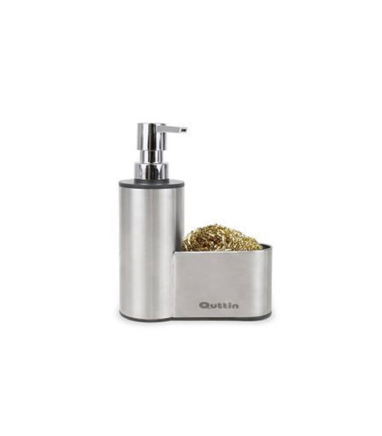 Distributeur liquide vaisselle et porte éponge en acier inoxydable
