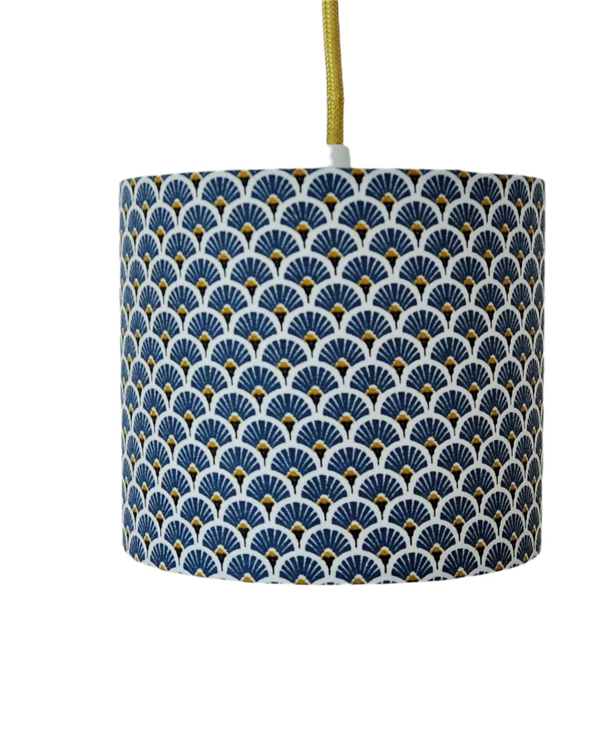 Suspension eventail bleu et or diamètre 15 cm