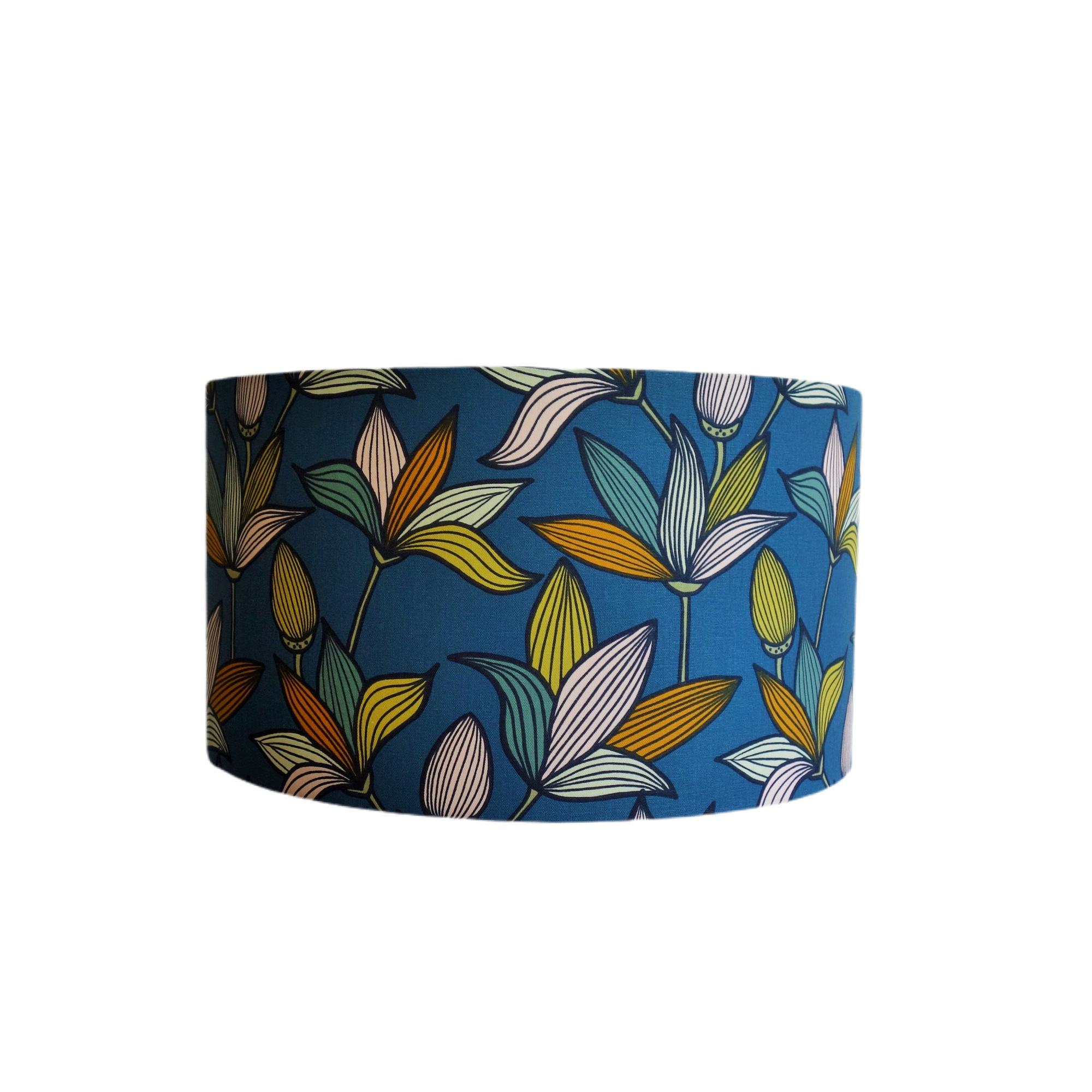 Suspension fleur de tige bleu vert diamètre 15 cm