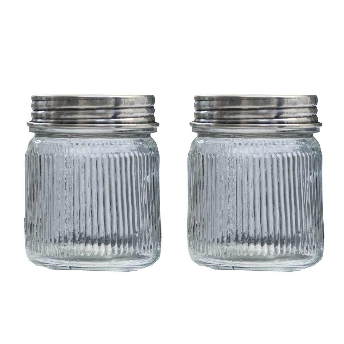 Set de 2 bocaux en verre et laiton argent