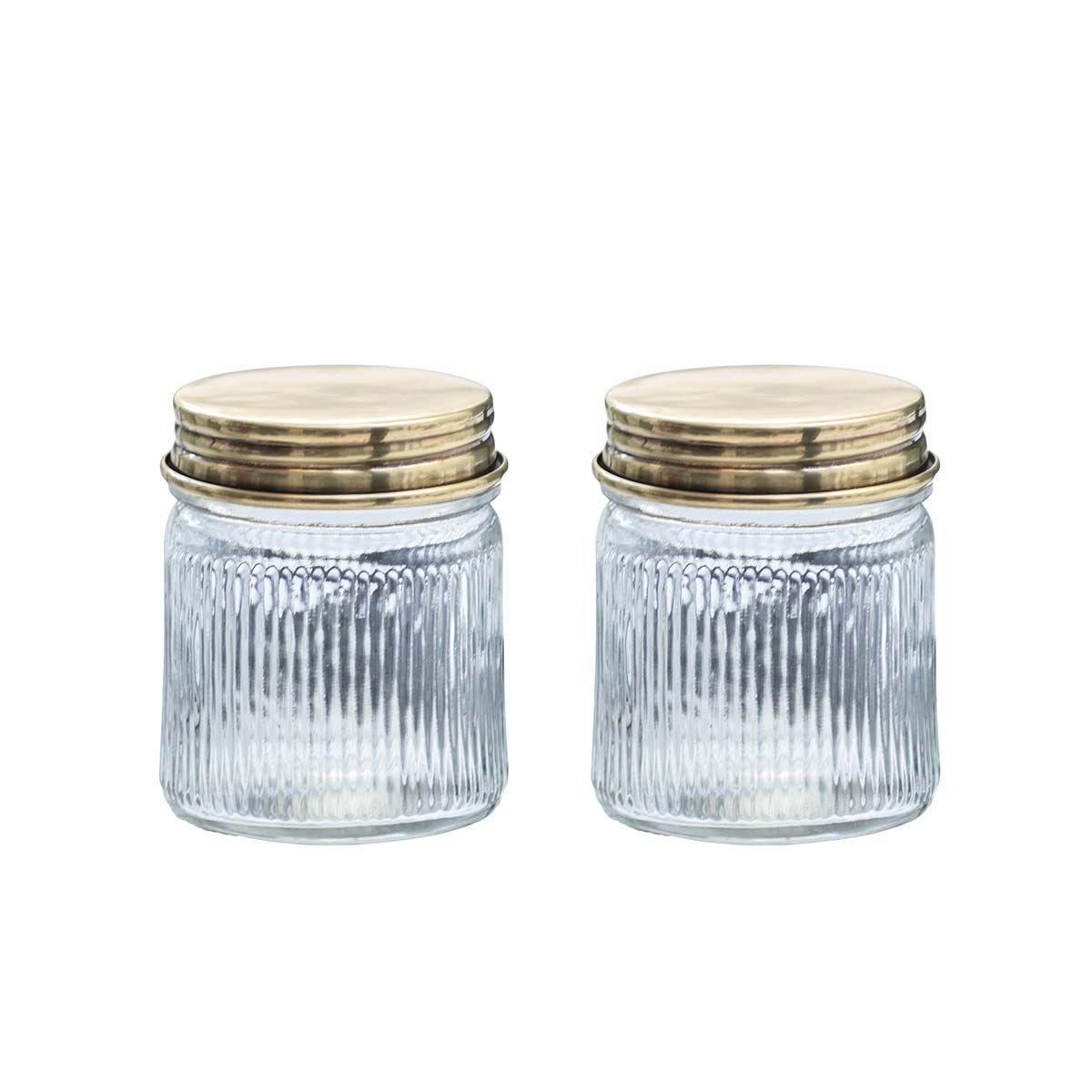 Set de 2 bocaux en verre et laiton or